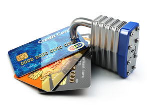 Cyber Liability Insurance Florida - Secure payment internet online shopping concept.. Credit cards and padlock. 3d